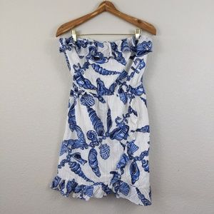Lilly Pulitzer strapless ruffle dress XL